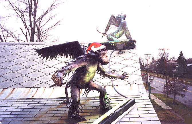 winged monkeys at Christmas