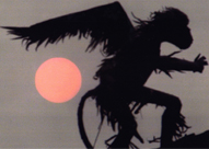 winged monkey at sunset